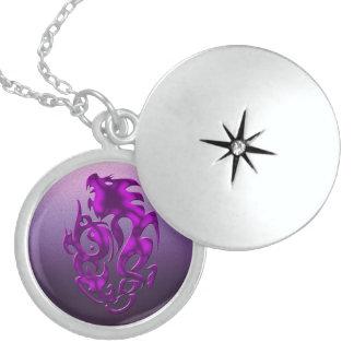 Twisted Dragon purple Round Locket Necklace