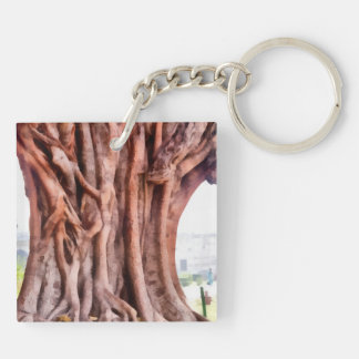 Twisted gnarled tree Double-Sided square acrylic keychain