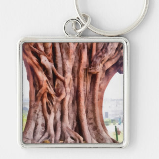 Twisted gnarled tree Silver-Colored square keychain