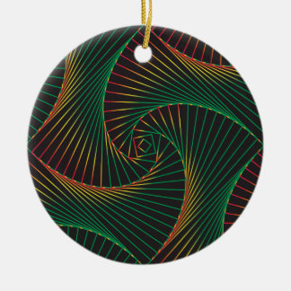 Twisted - Green and Red Ceramic Ornament