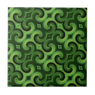 Twisted Green Interconnected Spiral Wallpaper Ceramic Tile