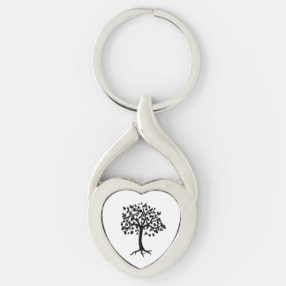 Twisted Heart Metal Keychain Tree of Life Design
