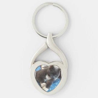 Twisted Heart Pet Photo Key Chain