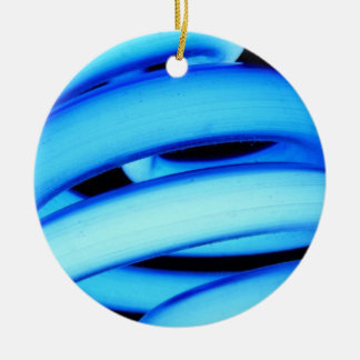 Twisted Light Bulb in Neon Blue Ceramic Ornament