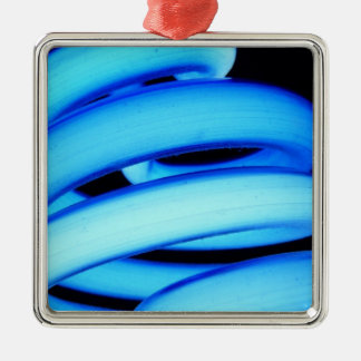 Twisted Light Bulb in Neon Blue Metal Ornament