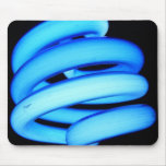 Twisted Light Bulb in Neon Blue Mouse Pads