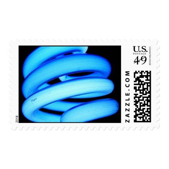 Twisted Light Bulb in Neon Blue Postage