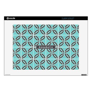 USA Themed Twisted Lines in Mint and Gray Colors w/ Name Laptop Decal