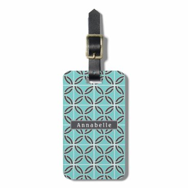 USA Themed Twisted Lines in Mint and Gray w/ Name (2-Sided) Bag Tag