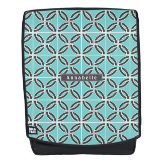 Twisted Lines in Mint and Gray w/ Name Backpack