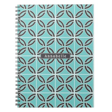 USA Themed Twisted Lines in Mint and Gray w/ Name/Subject Notebook