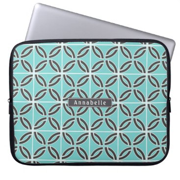 USA Themed Twisted Lines in Mint and Gray w/ Nameplate Laptop Sleeve