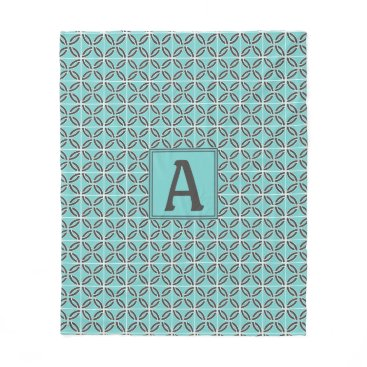 USA Themed Twisted Lines in Mint and Gray with Monogram Fleece Blanket