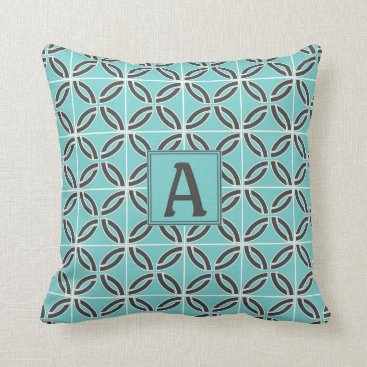 USA Themed Twisted Lines in Mint & Gray w/ Monogram (2-Sided) Throw Pillow