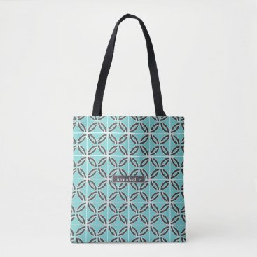 USA Themed Twisted Lines in Mint & Gray w/ Name (2-Sided) Tote Bag