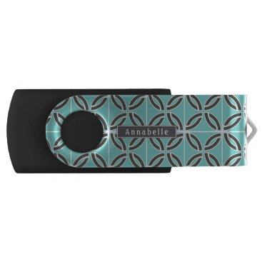 USA Themed Twisted Lines in Mint & Gray w/ Name (Front/Back) Flash Drive