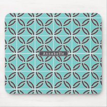 Twisted Lines in Mint & Gray w/ Name Mouse Pad
