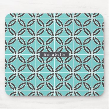 USA Themed Twisted Lines in Mint & Gray w/ Name Mouse Pad