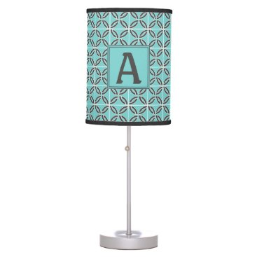 USA Themed Twisted Lines in Mint & Gray with Monogram Desk Lamp