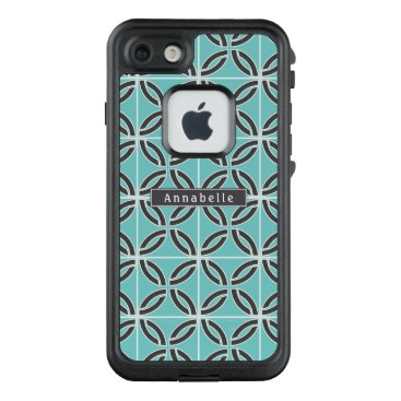 USA Themed Twisted Lines, Mint and Gray w/ Name plate LifeProof FRĒ iPhone 7 Case
