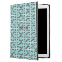 """Twisted Lines, Mint and Gray w/ Nameplate iPad Pro 12.9"""" Case"""