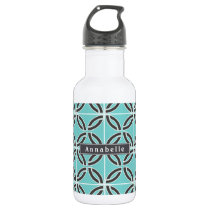 Twisted Lines, Mint and Gray w/ Nameplate Water Bottle