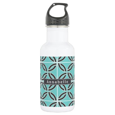 USA Themed Twisted Lines, Mint and Gray w/ Nameplate Water Bottle