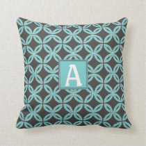 Twisted Lines, Mint & Gray w/ Monogram-Reversible Throw Pillow