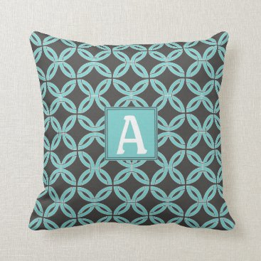 USA Themed Twisted Lines, Mint & Gray w/ Monogram-Reversible Throw Pillow
