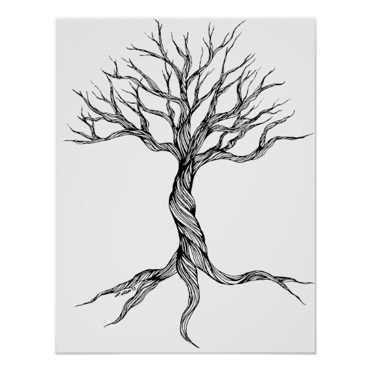 Twisted Old Tree Art Print Poster Zazzle Com