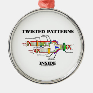 Twisted Patterns Inside Geek Humor DNA Replication Silver-Colored Round Ornament