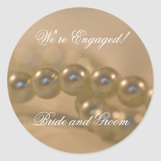 Twisted Pearls Engagement Envelope Seals Classic Round Sticker