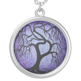 Twisted purple willow tree - necklace