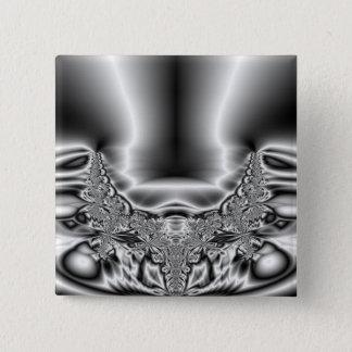 Twisted Tornado Metal Black & White Fractal Button