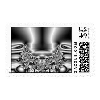 Twisted Tornado Metal Black & White Fractal Postage Stamp