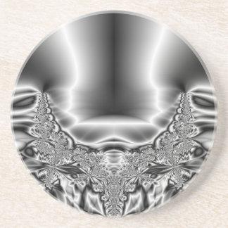Twisted Tornado Metal Black & White Fractal Sandstone Coaster