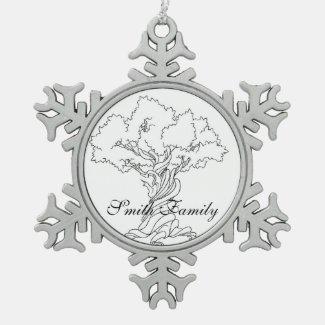 Twisted Tree Genealogy Family Tree Snowflake Ornament