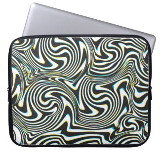 "Twisted zebra stripes pattern ""3d glass effect"" computer sleeve"