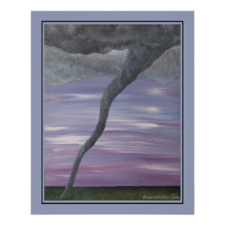 Twister Purple Gray Tornado Funnel Cloud Painting Poster