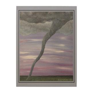 Twister Purple Gray Tornado Funnel Cloud Painting Wood Print