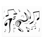 Twisting Musical Notes Postcard