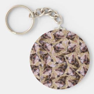 twisting piglet basic round button keychain