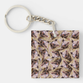 twisting piglet Double-Sided square acrylic keychain