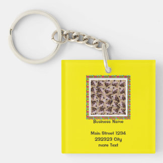 twisting piglet Single-Sided square acrylic keychain