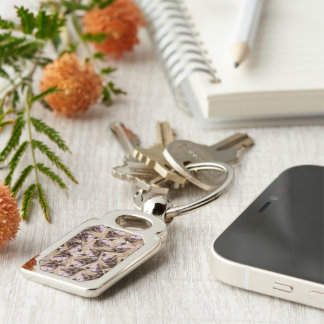 twisting piglet Silver-Colored rectangular metal keychain