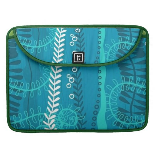 Twisting Swirling Vines Bright Teal Sleeve For MacBook Pro