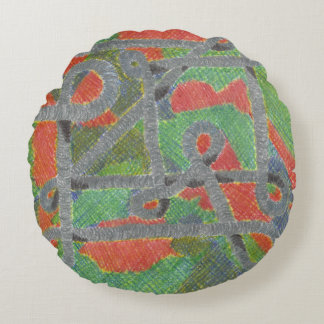Twisty Pipes Upon Harsh Chemicals Round Pillow