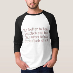 Men's Basic 3/4 Sleeve Raglan T-Shirt with Twitched And Lost... design