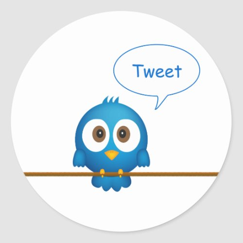 Twitter bird classic round sticker