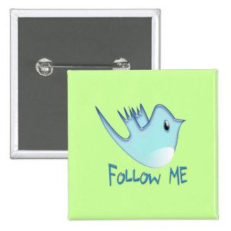 Twitter Bird Follow Me- Choose Background Color Pinback Buttons